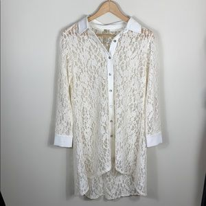 Button Front Long Sleeve Lace High Low Tunic XS